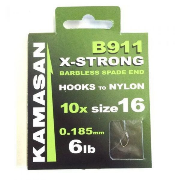 Kamasan X-Strong Hooks to Nylon Size 16 1